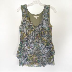 Weston Wear Anthro tank floral ruffle crossover